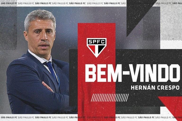 """Un video, una frase del propio Hernán Crespo y este """"afiche"""" preparó São Paulo para dar la bienvenida al argentino."""