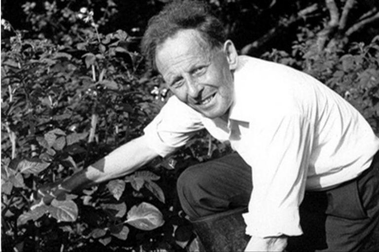 Donald Watson en su propio jardín, donde tenía cuidado de no dañar ni siquiera a las lombrices