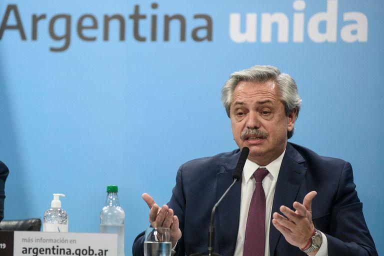 El presidente Alberto Fernández, el lunes, durante el anuncio de estatización del Grupo Vicentín