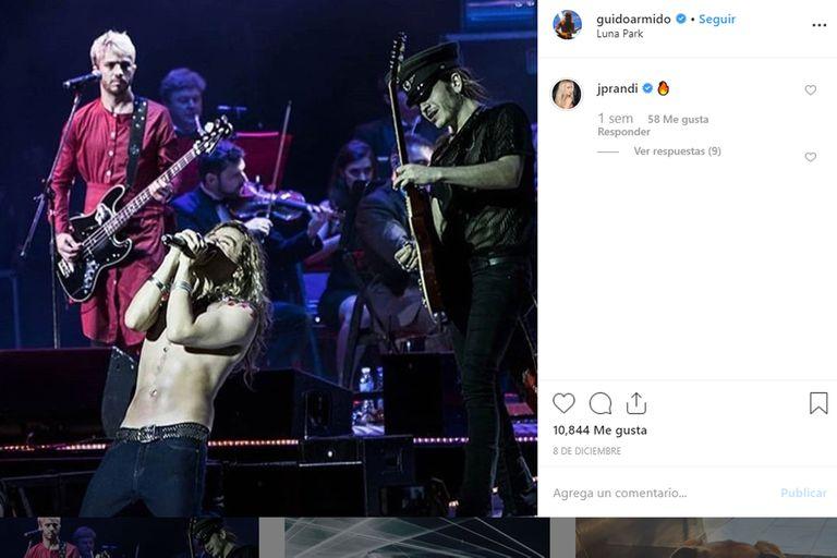 El instagram de Guido con el comentario de Julieta