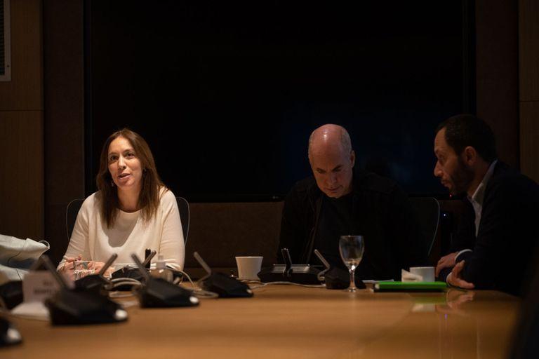 María Eugenia Vidal, Horacio Rodríguez Larreta y Maximiliano Ferraro