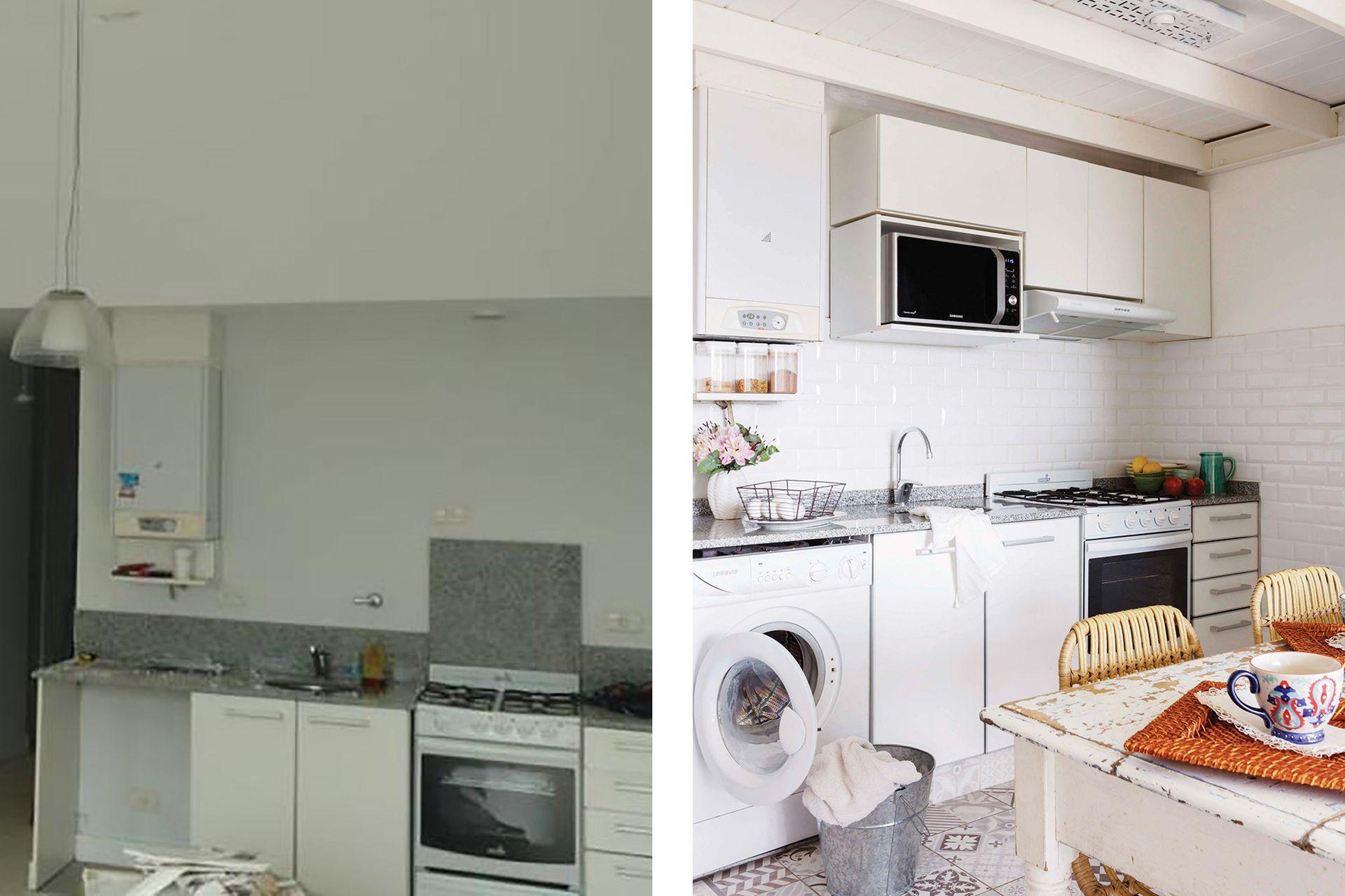 En la cocina se aprovechó el espacio del mueble para colocar un lavarropas. El piso se renovó con cerámica símil calcáreo (San Lorenzo).