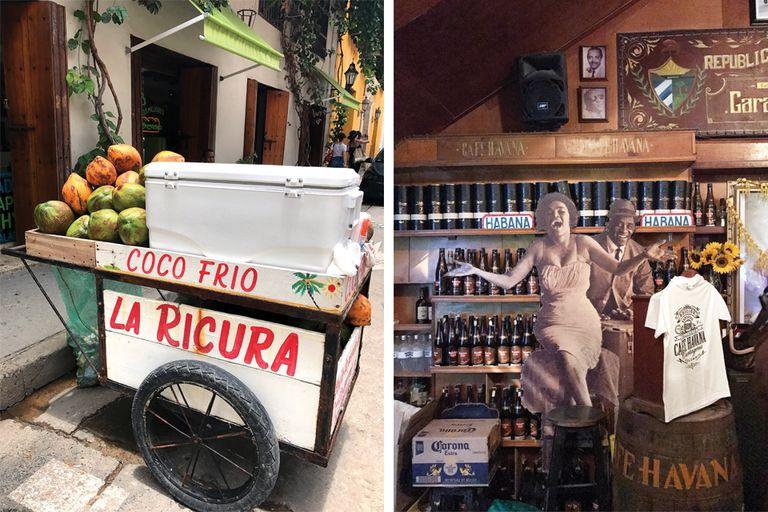 Derecha: Café Havana, con musicos en vivo. Te sentís en Cuba