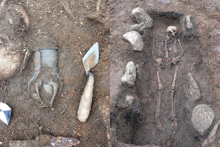 Las tumbas contenían diversas piezas de ajuar funerario como broches de bronce, collares de cuentas, frascos de vidrio, armas y cerámicas