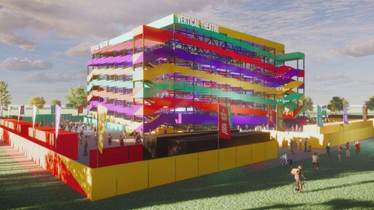 Teatro anticovid. Crean una sala con balcones y sin paredes para 2400 personas