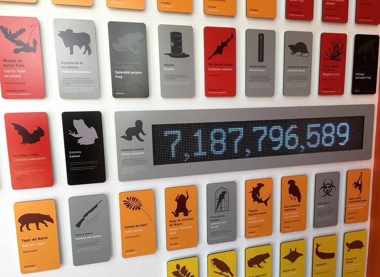 Este panel muestra la evolución de la población humana en tiempo real y los peligros que representa para el medio ambiente y las especies animales