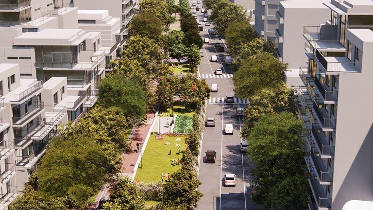 La imagen simula cómo quedará el corredor verde sobre la avenida Honorio Pueyrredón en Caballito