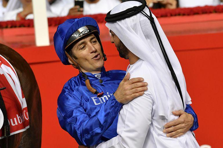 Soumillon y Saeed bin Suroor, jockey y entrenador del caballo atendido por el argentino Nicolás Elustondo