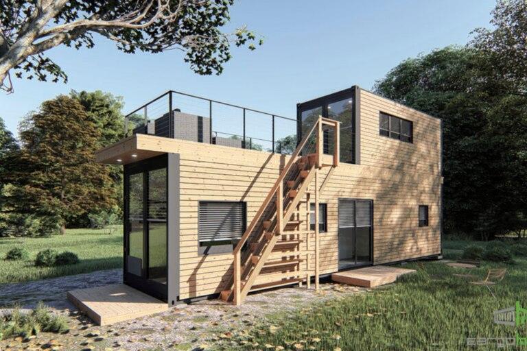 Uno de los modelos que está a la venta está construido con dos contenedores e incluye un piso superior con terraza privada