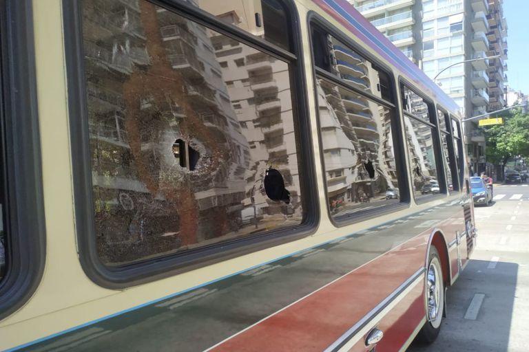 Por un choque, un automovilista rompió las ventanillas de un colectivo