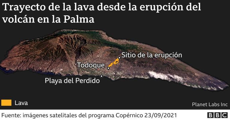 Cuál fue el trayecto de la lava desde que comenzó la erupción
