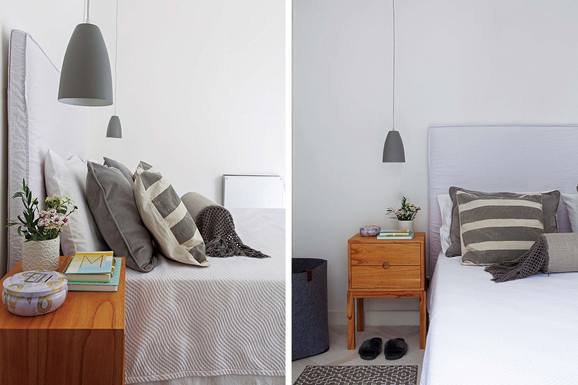 Junto a la cama con almohadones varios (Good Luck Casa), mesa de luz en madera y luminaria colgante (Flo's Market).
