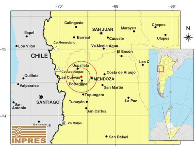 Epicentro del sismo más fuerte en Mendoza