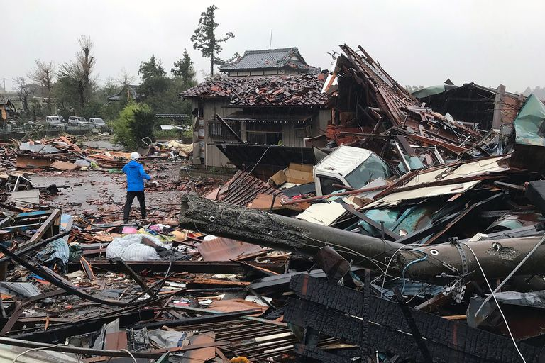 Viviendas dañadas por el tifón en Ichihara