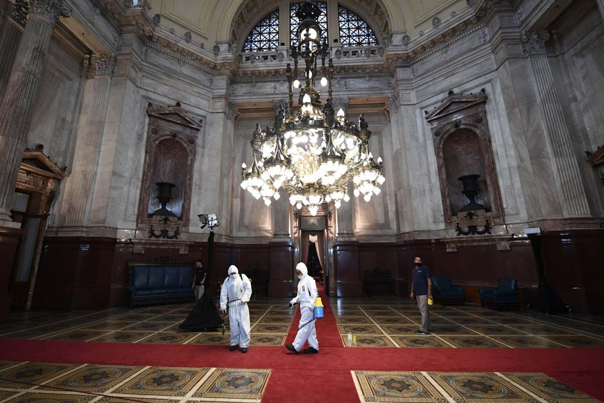 Preparativos en el Congreso de la Nación previos a la 139 Asamblea Legislativa, en Buenos Aires