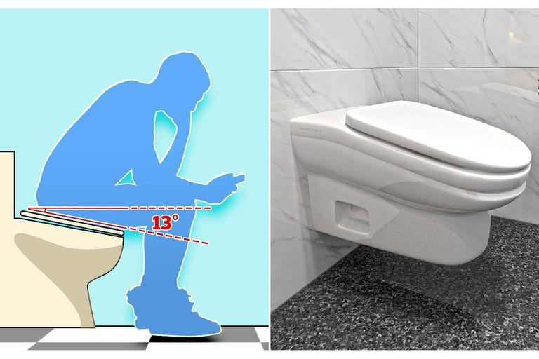 El diseño propuesto para el inodoro lo inclina hacia adelante, para obligar a su usuario a levantarse después de unos minutos