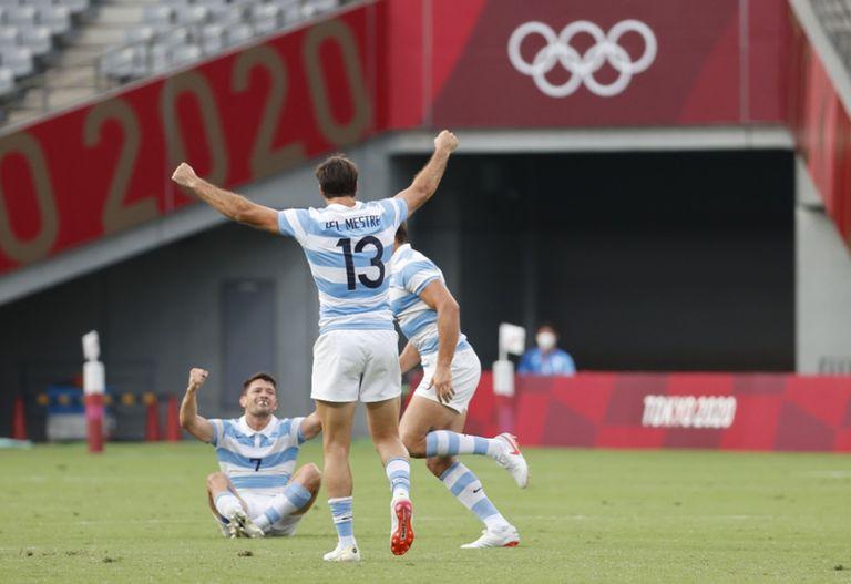 El festejo argentino en Tokio 2020. ¡Los Pumas 7s son de bronce!