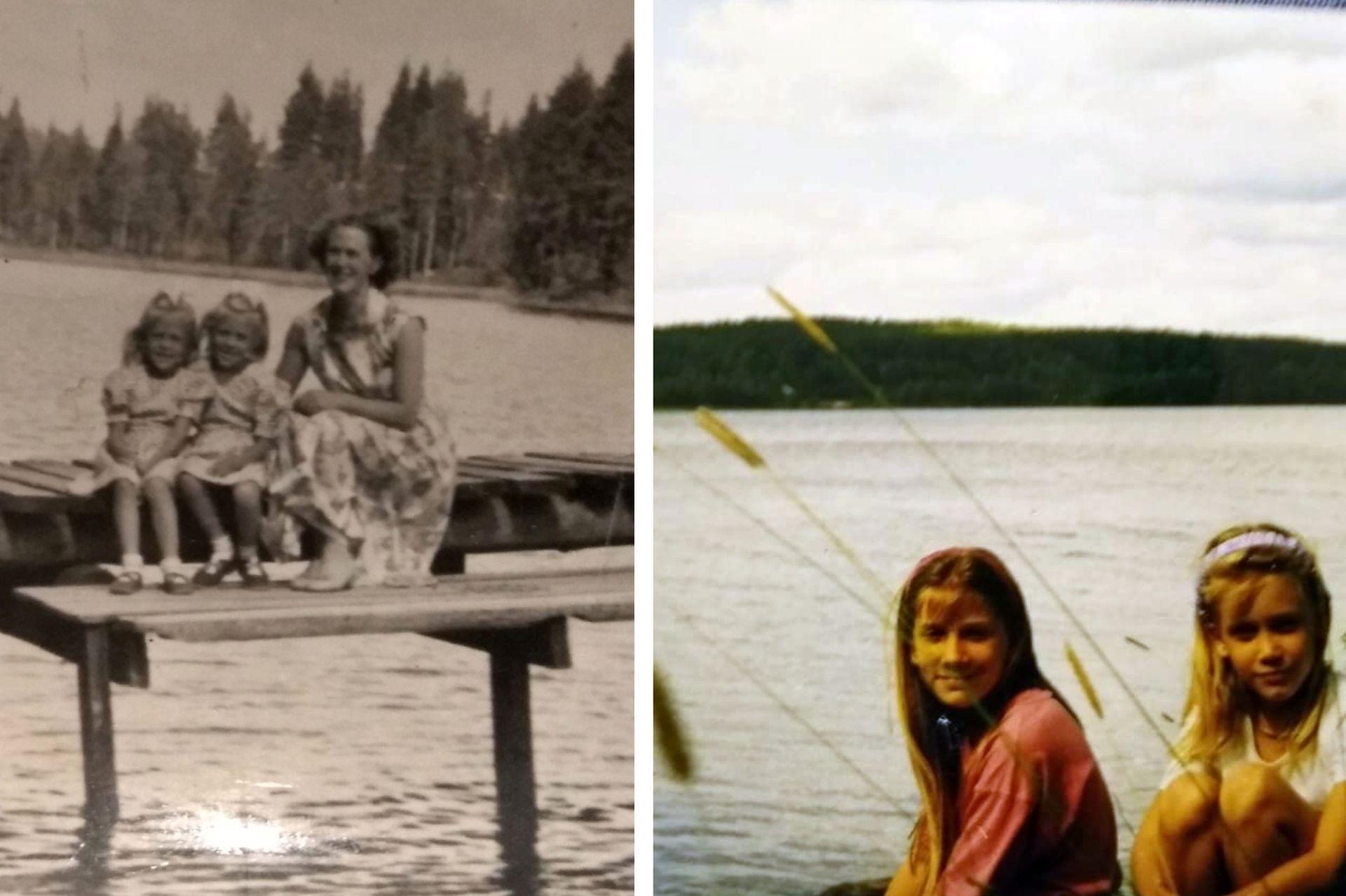 Izq: Merja y Didi, junto a su madre, que fue enfermera durante la guerra. A Finlandia se lo llama el país de los mil lagos, aunque lo cierto es que tiene un total de 187 888 lagos, de los cuales 56 000 tienen más de una hectárea. Der: En 1993, Merja llevó a sus hijas menores a conocer Finlandia.