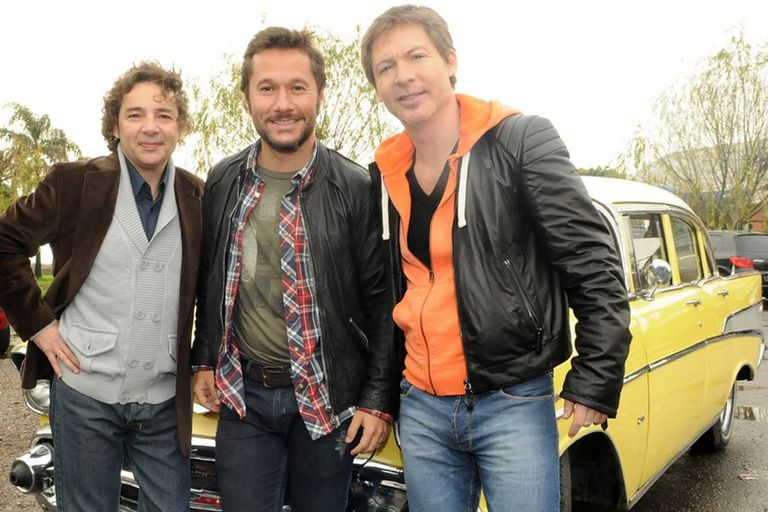 Vena, Torres y Suar, juntos recordaron a La banda del Golden Rocket cuando grabaron unas escenas para Los únicos en 2011.