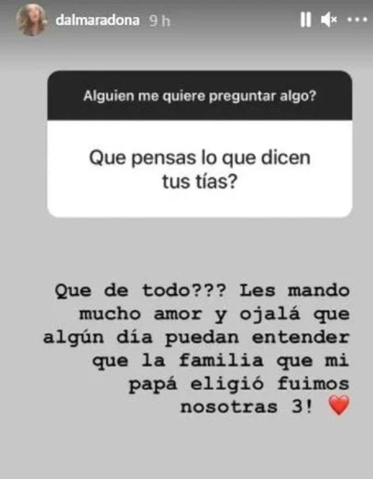 La respuesta de Dalma Maradona ante la pregunta por las hermanas de Diego