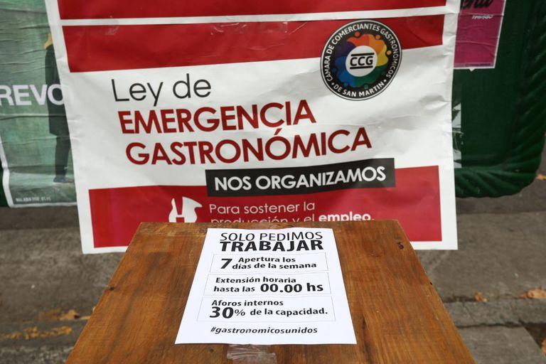 Los reclamos de los gastronómicos en la protesta