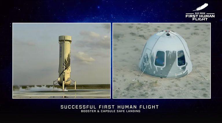 El cohete propulsor y la cápsula con la tripulación de la New Shepard aterrizaron en lugares separados
