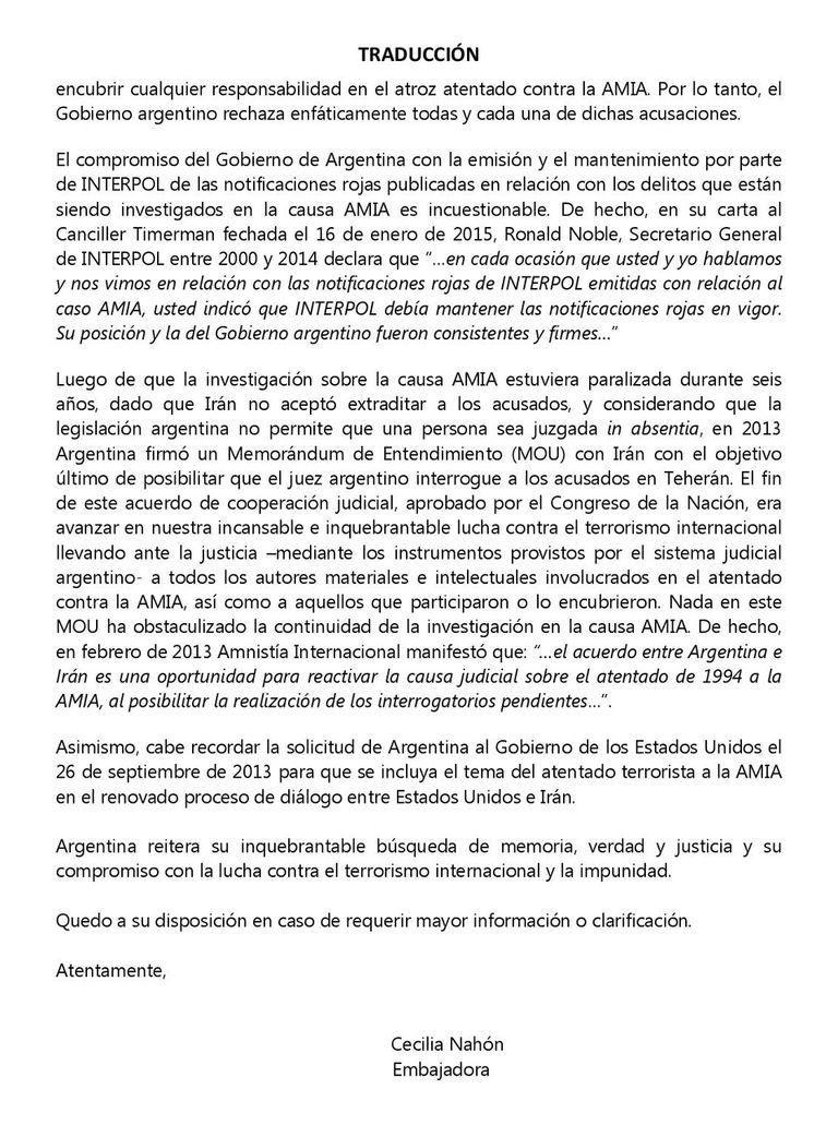 carta embajadora Cecilia Nahón Estados Unidos congreso congresistas Cristina Kirchner Twitter tuiteó