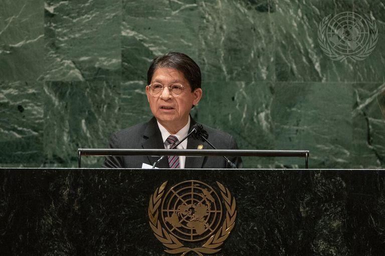 El ministro de Relaciones Exteriores de Nicaragua Denis Moncada habla ante la Asamblea General de la ONU el lunes 27 de septiembre del 2021. (Cia Park/United Nations via AP)