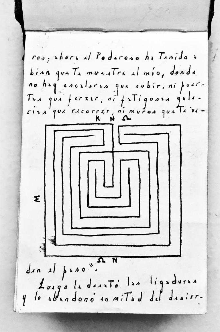 """El manuscrito de """"Historia de los dos reyes y los dos laberintos"""" incluye un dibujo de Borges"""