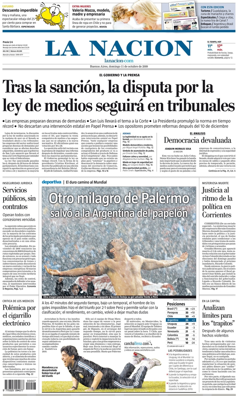 Las eliminatorias rumbo a Sudáfrica 2010: gol de Palermo a Perú y festejo alocado, en una noche lluviosa, de mucha tensión y de desahogo.