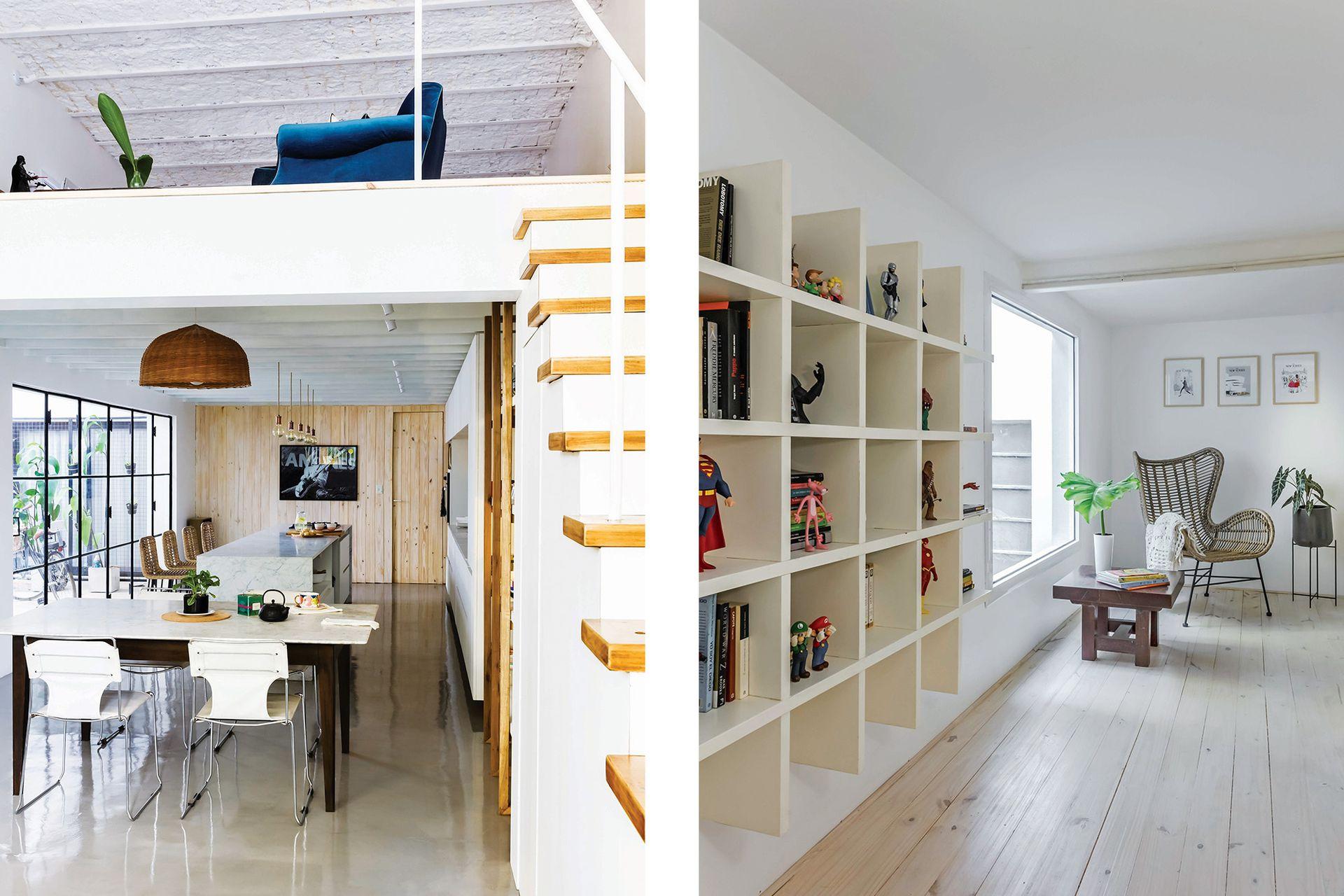La madera clara y los muebles blancos de la cocina mantienen continuidad con la escalera del entrepiso.