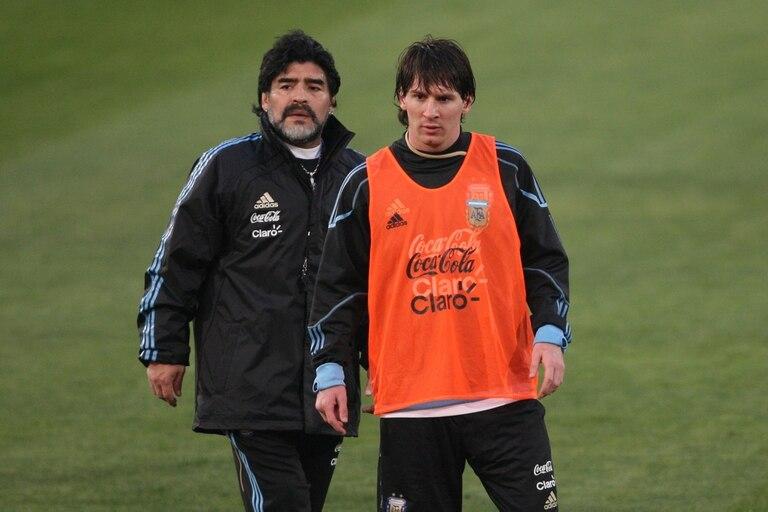 Maradona fue DT de Messi en la Selección entre 2008 y 2010