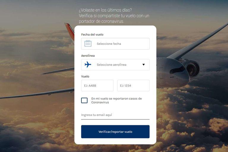 Check My Virus Risk es un sitio hecho por argentinos que indica si en un vuelo específico hay algún caso reportado de contagio de coronavirus