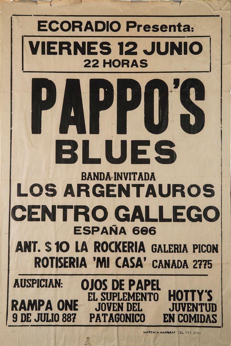 """Afiche de un show de Pappo's Blues en Comodoro Rivadavia, en medio de una gira por la Patagonia. """"Lo tenía un amigo de Bariloche y me lo regaló"""", revela Luciano"""