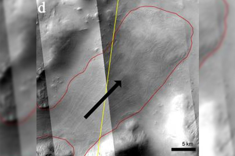 El VFF se extiende desde el macizo en el noreste de Nereidum Montes. La línea amarilla muestra la pista Sharad y la extensión VFF mapeada se resalta en rojo. La dirección de flujo está indicada por la flecha negra