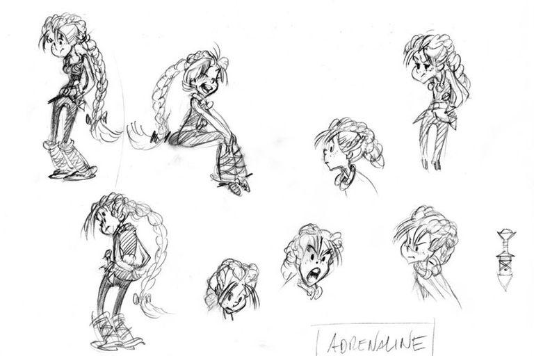 La protagonista de La hija de Vercingetorix es Adrenalina, una adolescente rebelde, decidida, llena de energía e ideales.