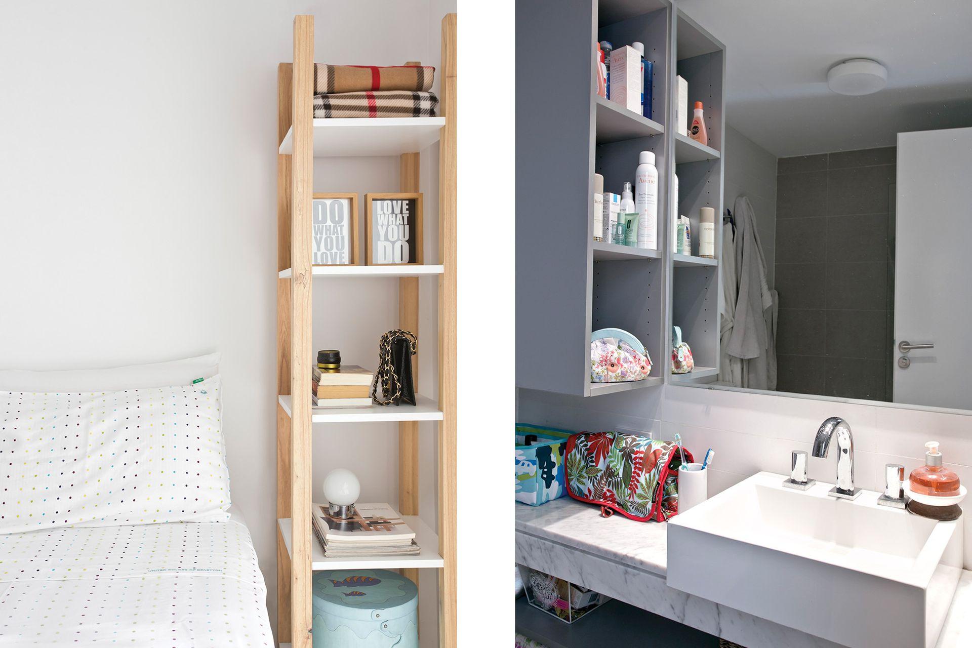 En el baño, un mueble gris con puertas y estantes (Arquidiseño).