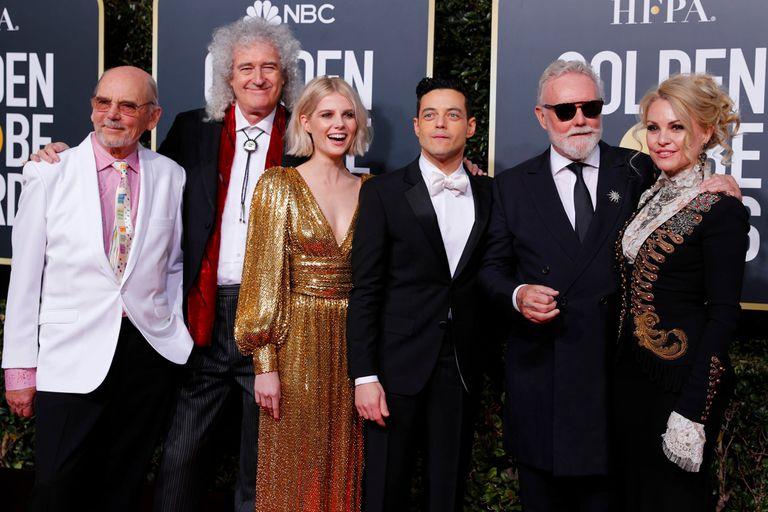 Productores y elenco de Bohemian Rhapsody, la gran sorpresa de la noche