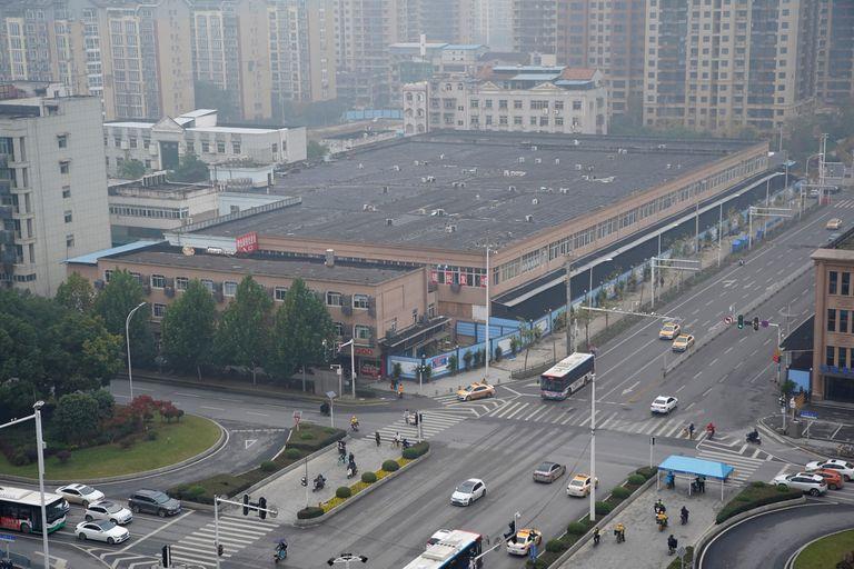 Vista aérea del mercado de Wuhan, donde se habría originado el coronavirus