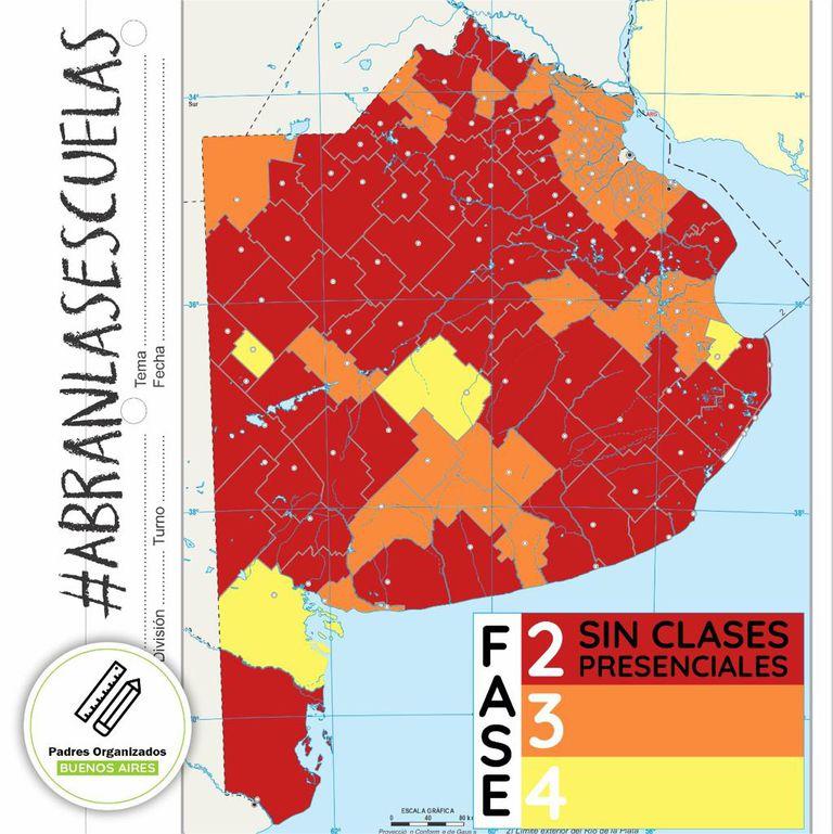 Mapa de los distritos que no regresan a clase realizado por la agrupación padres organizados