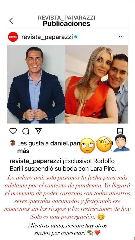 Rodolfo Barili aclaró por qué no se casará este año con Lara Piro