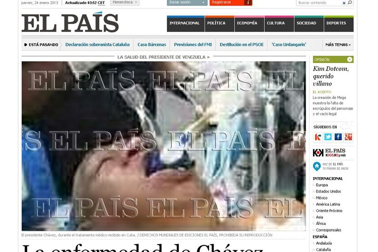 Así apareció la imagen de la polémica en el sitio de El País, luego fue modificado