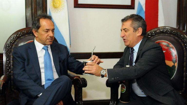 El gobernador bonaerense Daniel Scioli y el gobernador de Entre Ríos Sergio Urribarri
