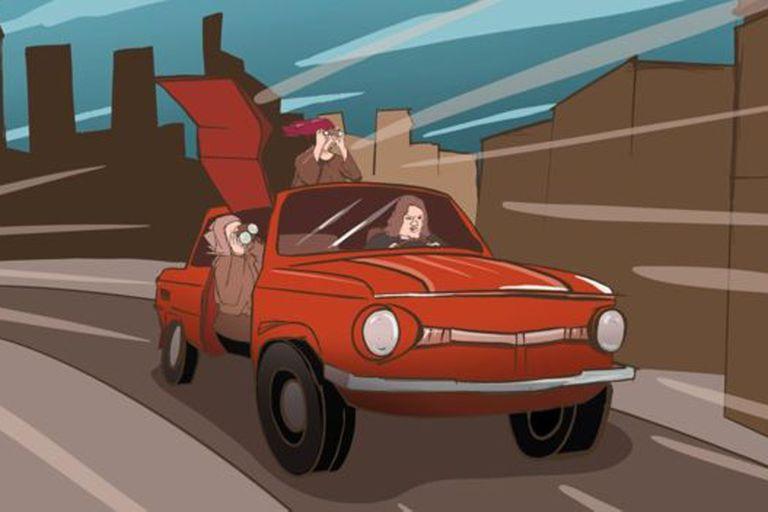 """""""Cuando el auto de los recién casados sale de la celebración, otro lo sigue, con cuatro mujeres borrachas adentro""""."""