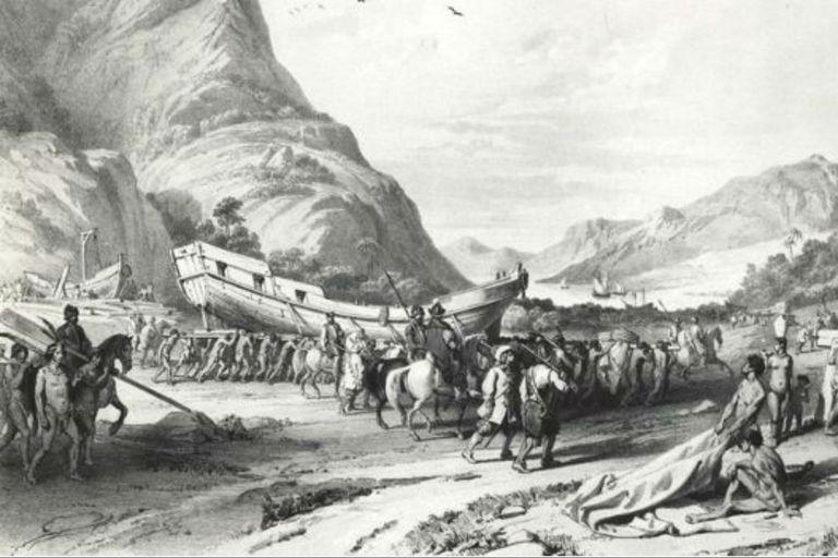 Grabado del siglo XVI donde se muestra a los españoles llevando botes de Tlaxcala a Tenochtitlan (hoy Ciudad de México)