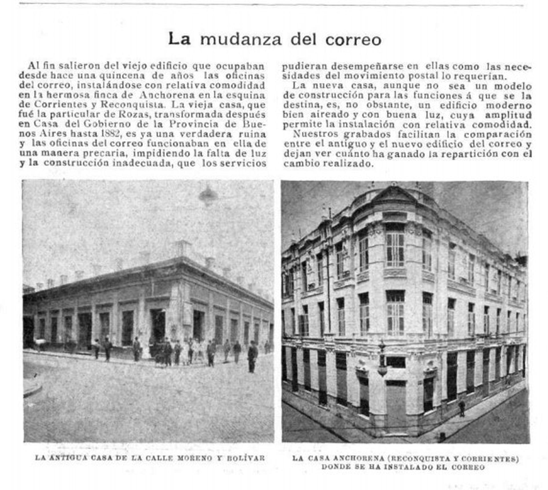 Nota publicada en 1901 en Caras y Caretas acerca de la mudanza del correo: a la izquierda, la antigua sede de Moreno y Bolívar. A la derecha, la nueva Casa Anchorena en Corrientes y Reconquista