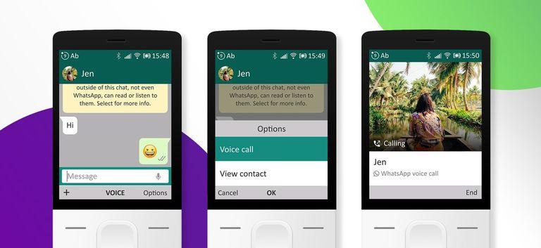 Así se ve el nuevo servicio de llamadas de WhatsApp en un dispositivo con KaiOS