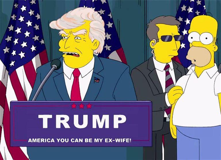 El presidente Trump habla ante un atónito Homero Simpson en un episodio estrenado 16 años atrás