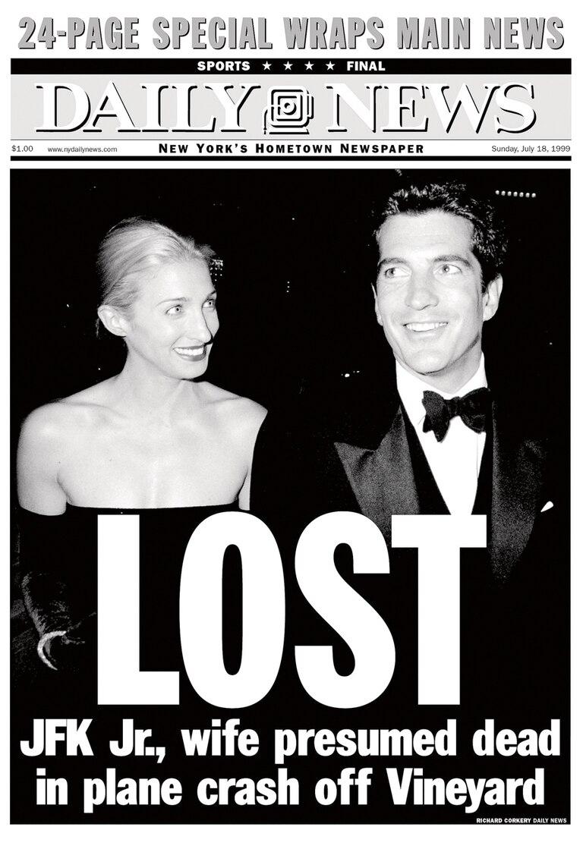 La tapa del Daily News con la noticia de la desaparición del avión que él piloteaba