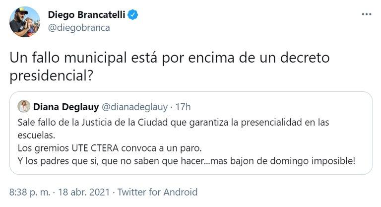 El periodista Diego Brancatelli cuestionó que un fallo de la Justicia federal pudiera anular la decisión plasmada en un decreto presidencial.